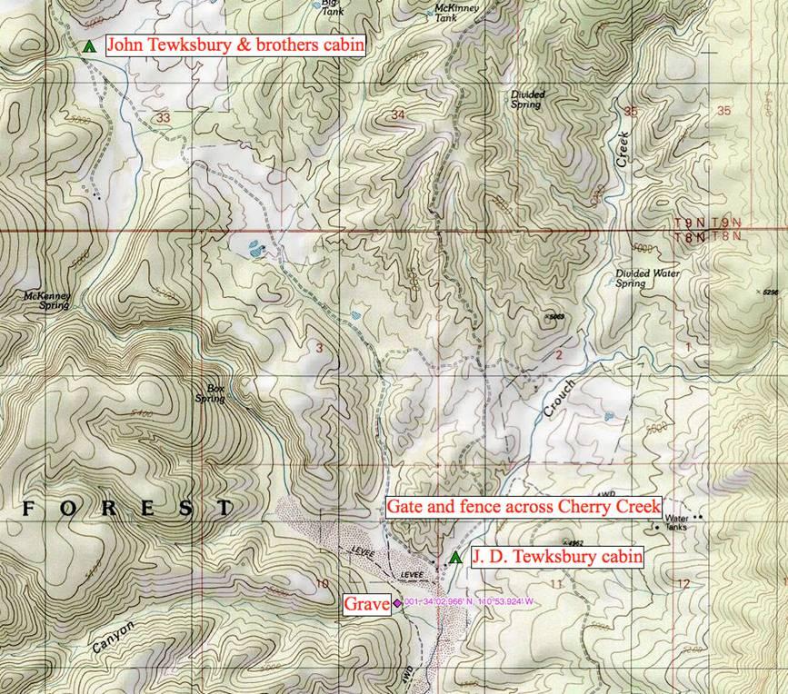 Map Of Young Arizona.Tewksbury Jacobs Grave